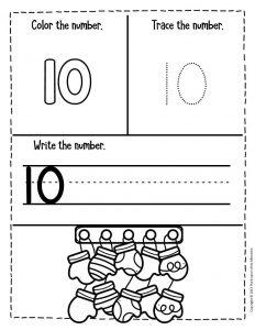 Numbers Winter Preschool Worksheets 10