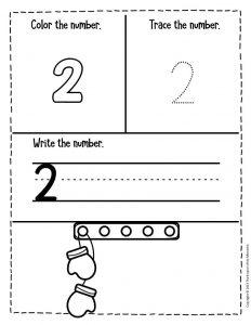Numbers Winter Preschool Worksheets 2