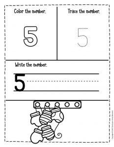 Numbers Winter Preschool Worksheets 5