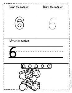 Numbers Winter Preschool Worksheets 6