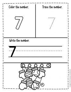 Numbers Winter Preschool Worksheets 7