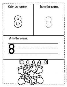 Numbers Winter Preschool Worksheets 8