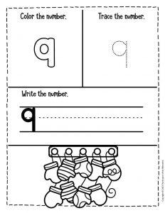 Numbers Winter Preschool Worksheets 9