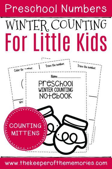 Numbers Winter Preschool Worksheets Counting Mittens