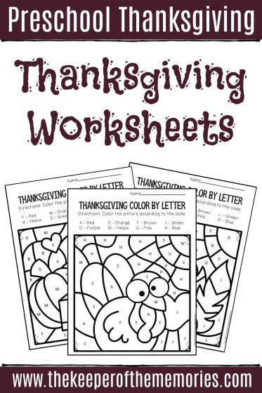 Preschool Thanksgiving Color by Letter Worksheets