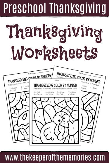 Preschool Thanksgiving Color by Number Worksheets