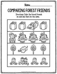 Printable Literacy Preschool Worksheets Comparing Forest Friends