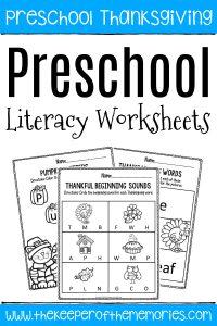 Printable Literacy Thanksgiving Preschool Worksheets with text: Preschool Thanksgiving Preschool Literacy Worksheets