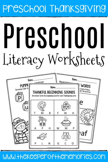 Printable Literacy Thanksgiving Preschool Worksheets