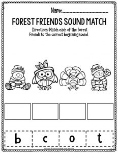 Printable Literacy Thanksgiving Preschool Worksheets Forest Friends Sound Match