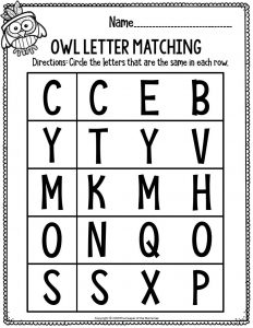 Printable Literacy Thanksgiving Preschool Worksheets Owl Letter Matching