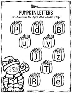 Printable Literacy Thanksgiving Preschool Worksheets Pumpkin Letters