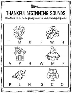 Printable Literacy Thanksgiving Preschool Worksheets Thankful Beginning Sounds