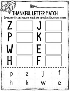 Printable Literacy Thanksgiving Preschool Worksheets Thankful Letter Match