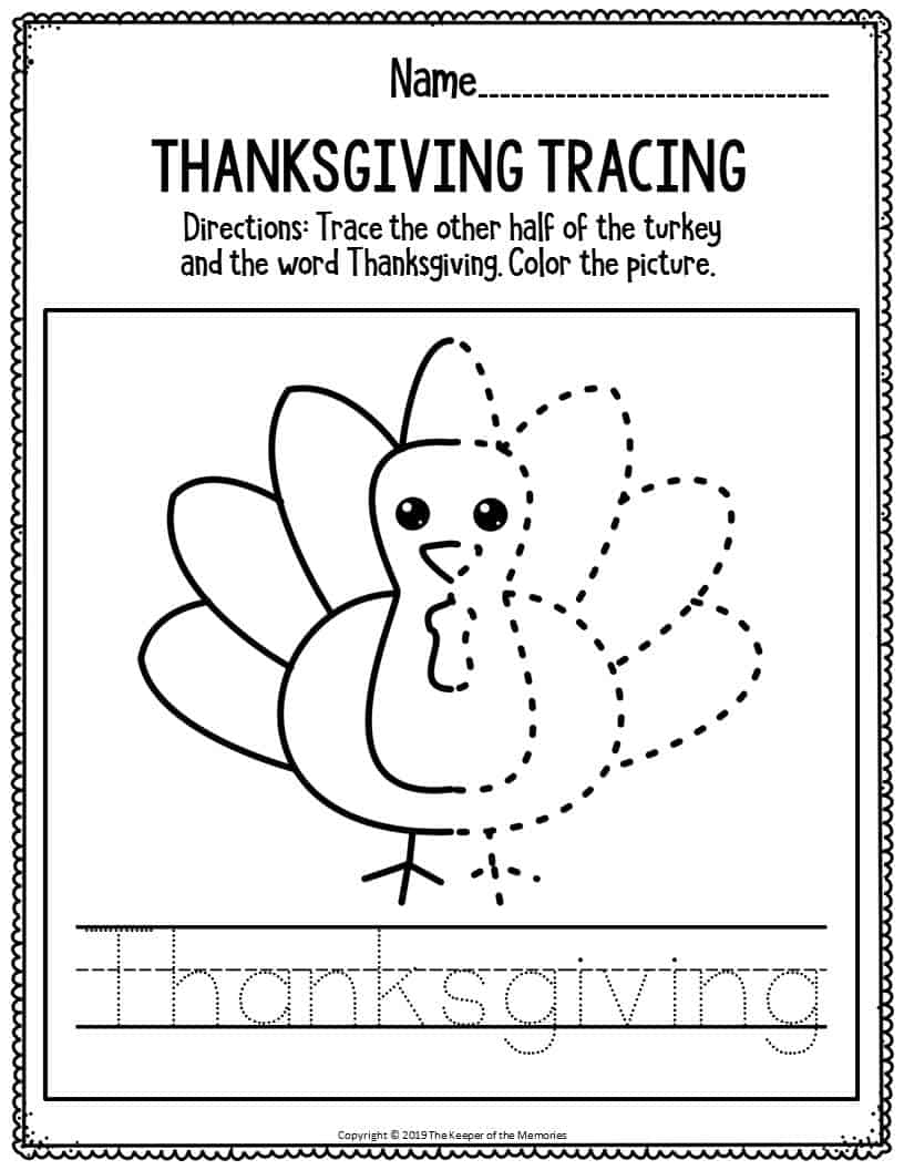 Printable Literacy Thanksgiving Preschool Worksheets ...