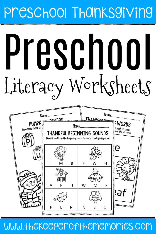 - Printable Literacy Thanksgiving Preschool Worksheets