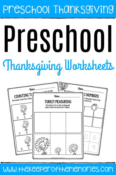 collage of Printable Thanksgiving Preschool Math Worksheets with text: Preschool Thanksgiving Preschool Math Worksheets