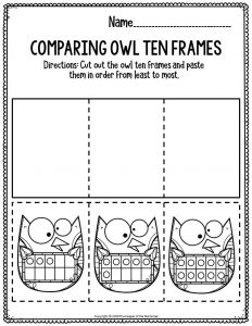 Printable Math Thanksgiving Preschool Worksheets Comparing Owl Ten Frames