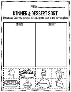 Printable Math Thanksgiving Preschool Worksheets Dinner & Dessert Sort