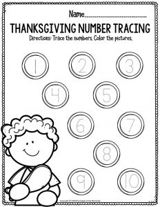 Printable Math Thanksgiving Preschool Worksheets Thanksgiving Number Tracing