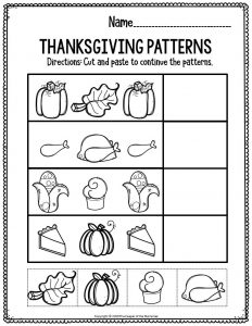 Printable Math Thanksgiving Preschool Worksheets Thanksgiving Patterns