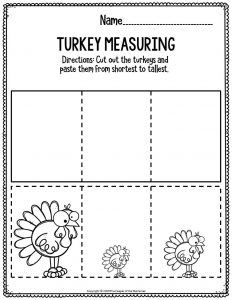 Printable Math Thanksgiving Preschool Worksheets Turkey Measuring