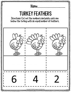 Printable Math Thanksgiving Worksheets Turkey Feathers