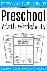 Printable Math Thanksgiving Preschool Worksheets