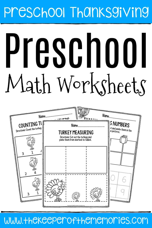Printable Math Thanksgiving Preschool Worksheets