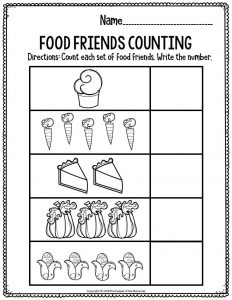 Prntable Math Thanksgiving Preschool Worksheets Food Friends Counting