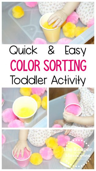 collage of toddler sorting activity photos with text: Quick & Easy Color Sorting Toddler Activity