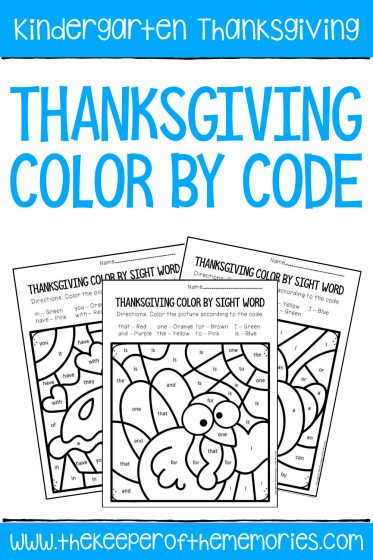 Thanksgiving Color by Code Kindergarten Worksheets with text: Kindergarten Thanksgiving Thanksgiving Color by Code