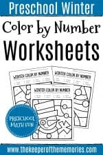 Color by Number Winter Preschool Worksheets