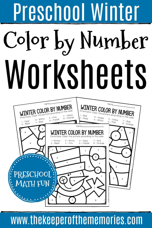 Color by Number Winter Preschool Worksheets
