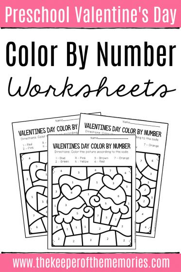 Valentine's Day Color by Number Preschool Worksheets with text: Preschool Valentine's Day Color by Number Worksheets