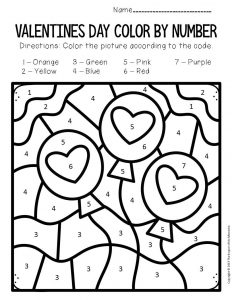 Color by Number Valentine's Day Preschool Worksheets Balloons