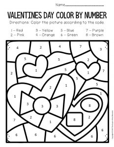 Color by Number Valentine's Day Preschool Worksheets Chocolates