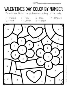 Color by Number Valentine's Day Preschool Worksheets Flowers