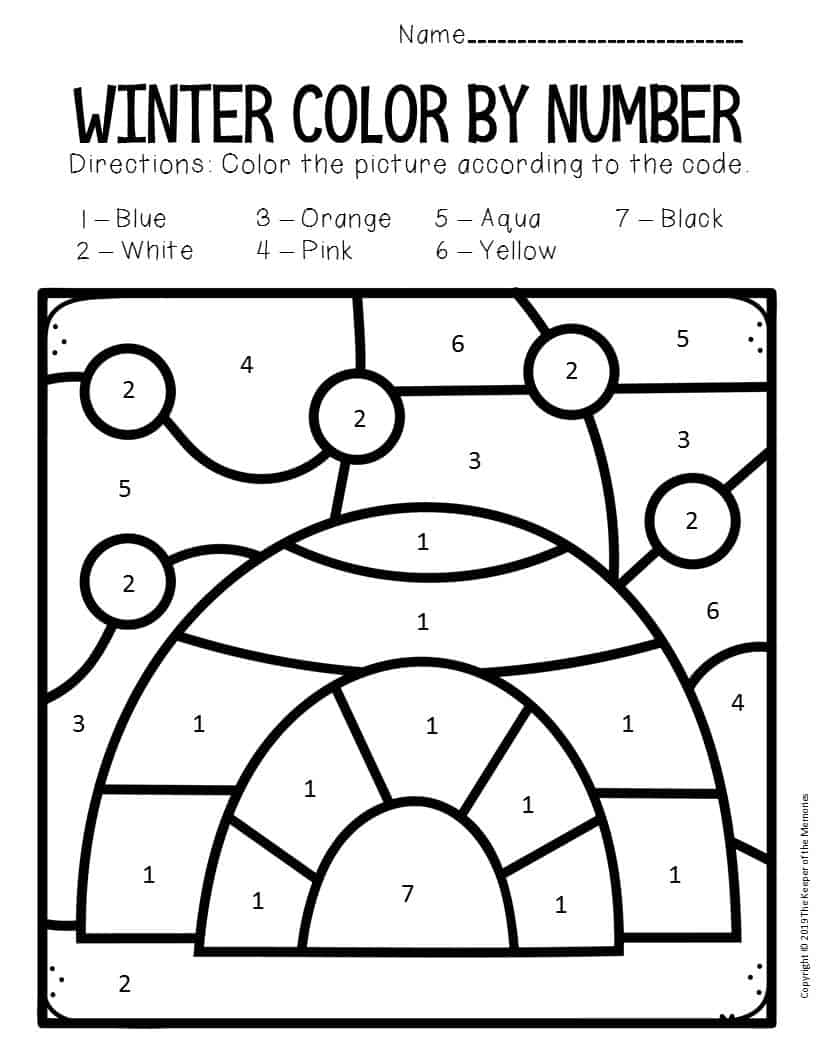 Color by Number Winter Preschool Worksheets Igloo - The ...
