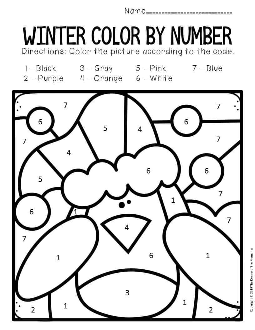 Color by Number Winter Preschool Worksheets Penguin - The ...