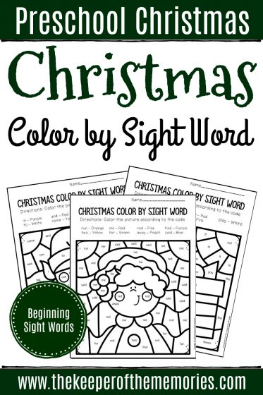 Color by Sight Word Christmas Pre-K Worksheets Beginning Sight Words