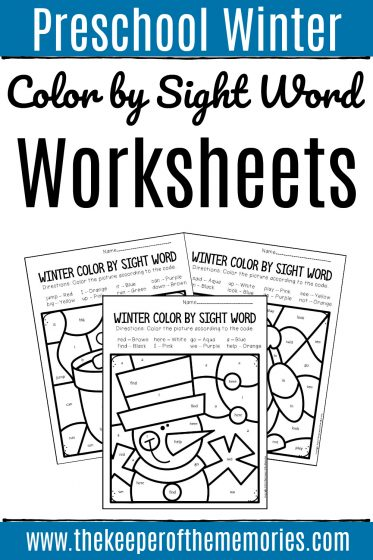 Preschool Color by Sight Word Winter with text: Preschool Winter Color by Sight Word Worksheets