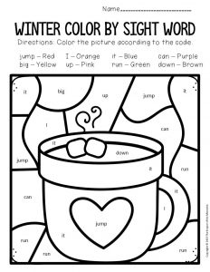 Color by Sight Word Winter Preschool Worksheets Hot Chocolate