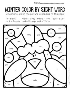 Color by Sight Word Winter Preschool Worksheets Penguin