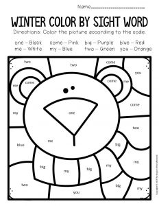 Color by Sight Word Winter Preschool Worksheets Polar Bear