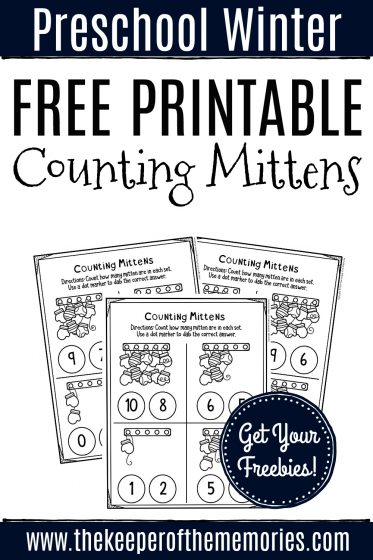 Counting Mittens Preschool Worksheets with text: Preschool Winter Free Printable Counting Mittens Get Your Freebies!