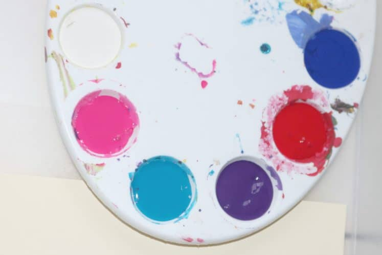 palette filled with paint