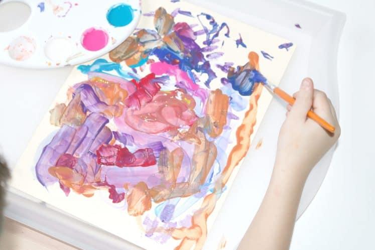child's dancing paintbrush process art