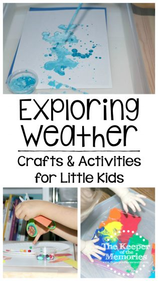 collage of weather crafts and activities with text overlay: Exploring Weather Crafts & Activities for Little Kids