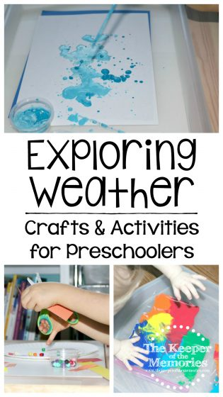 collage of weather crafts and activities with text overlay: Exploring Weather Crafts & Activities for Preschoolers